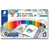 "Staedtler ergosoft Crayons triangulaire ""Johanna BASFORD – Couleurs assorties (Lot de 36)"