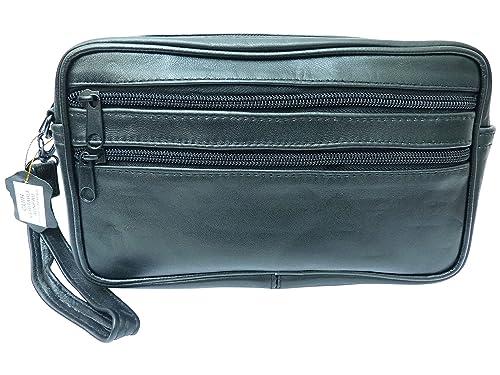 fa96a3cbf8 Chaussmaro Grande pochette homme en cuir avec attache poignet Noir:  Amazon.fr: Chaussures et Sacs