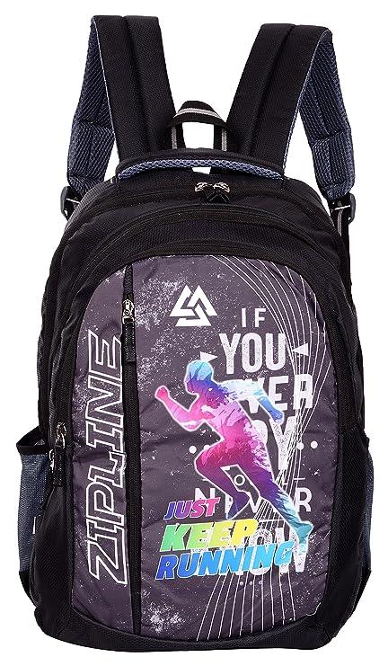 2955888ee8 ZIPLINE Unisex Casual Polyester 40 L Backpack School Bag Women Men Boys  Girls Children Daypack College Bag Weekend Bag (Black): Amazon.in: Bags, ...