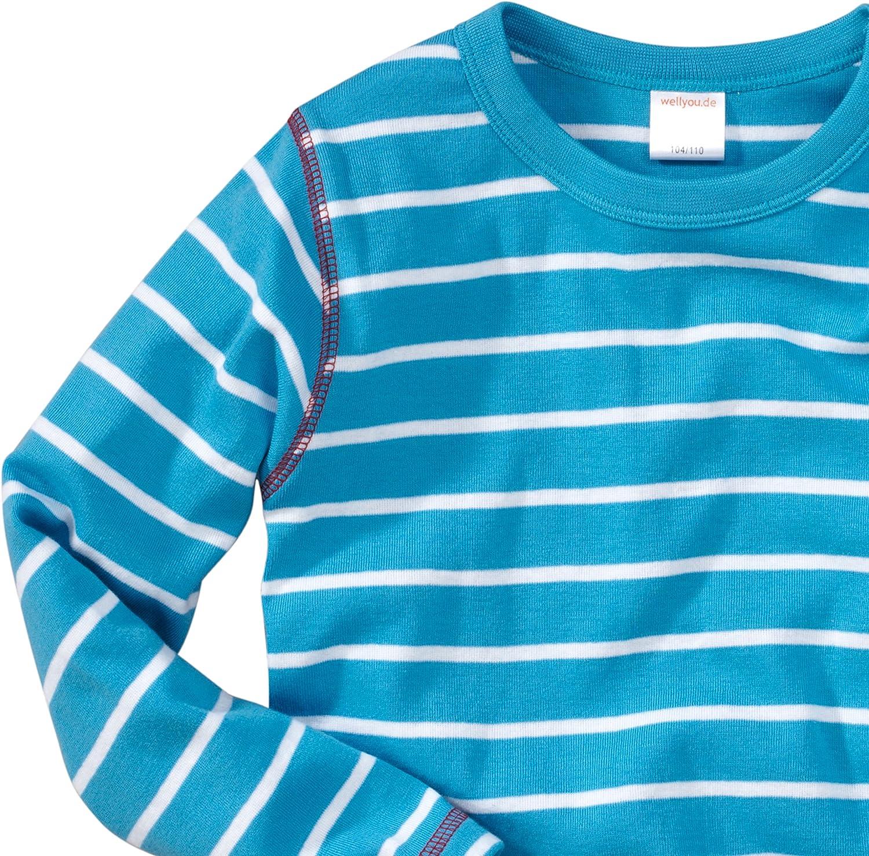 Baby Langarm-Shirt t/ürkis wei/ß gestreift Kinder Longsleeve Geringelt Baumwoll-Feinripp f/ür Jungen und M/ädchen wellyou Gr/ö/ße 80-86