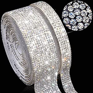 2 Rolls 6 Yards Bling Crystal Self Adhesive Rhinestone DIY Decoration Diamond Sticker Diamond Ribbon with 2 mm Rhinestones for Car Home DIY Crafts Decors, 1 cm, 2.5 cm Wide (Clear)