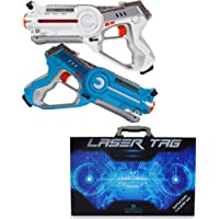 Dynasty Family Games Laser Tag Set and Carrying Case - Blue/White Laser Tag Blasters for Birthday Parties and Family Events (2 Pack)