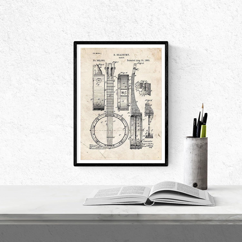 Nacnic Vintage - Pack de 4 Láminas con Patentes de Música. Set de Posters con inventos y Patentes Antiguas. Elije el Color Que Más te guste. Impreso ...