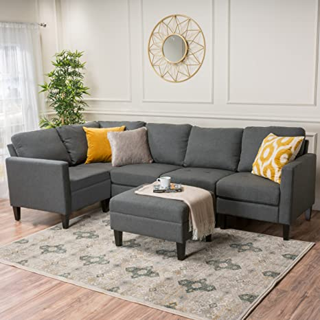 Enjoyable Gdf Studio 300123 Bridger Oxford Grey Fabric Sectional Couch With Ottoman Dark Onthecornerstone Fun Painted Chair Ideas Images Onthecornerstoneorg