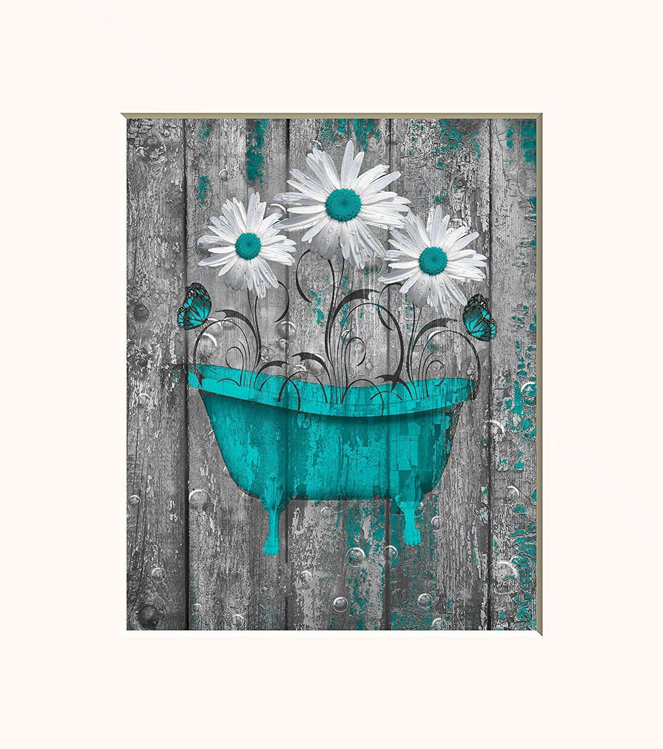 Coral Gray Floral Bathroom Wall Art *8x10 Inch Photo with 11x14 Inch White Mat *Goes Inside a 11x14 Inch Picture Frame*