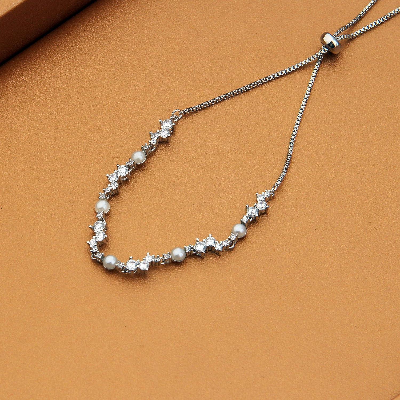 AKTAP Adjustable Cubic Zirconia Crystal Pearl Link Chain Bracelet Birthday Wedding Anniversary Graduation Gifts for Girls