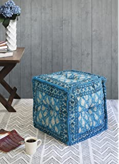 Cotton Cube Ottoman Foot Rest Stool Pouf Floor Cushion With Floral Blue  Print For Kids Home