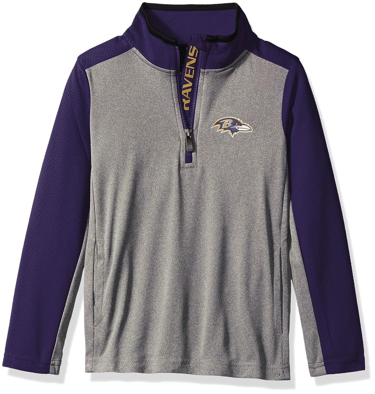 NFL Youth Boys Matrix 1//4 Zip Top-Light Charcoal-L 14-16 Baltimore Ravens