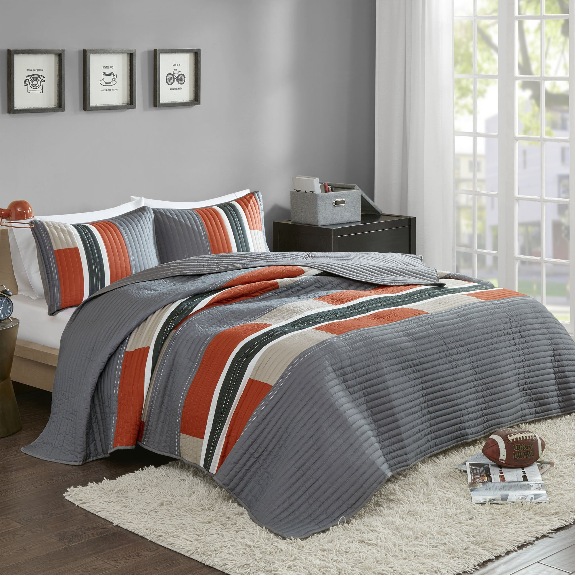 Bedspreads Twin XL Size Mini Quilt Set - Casual Pierre 2 Piece Kids Lightweight Filling Bedding Cover - Gray / Orange Patchwork Print - All Season Hypoallergenic - Fits Twin/Twin XL - Comfort Spaces