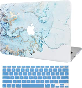 """KECC Laptop Case for MacBook Air 13"""" Retina (2020/2019/2018, Touch ID) w/Keyboard Cover Plastic Hard Shell Case A1932 2 in 1 Bundle (Blue Gold Marble)"""