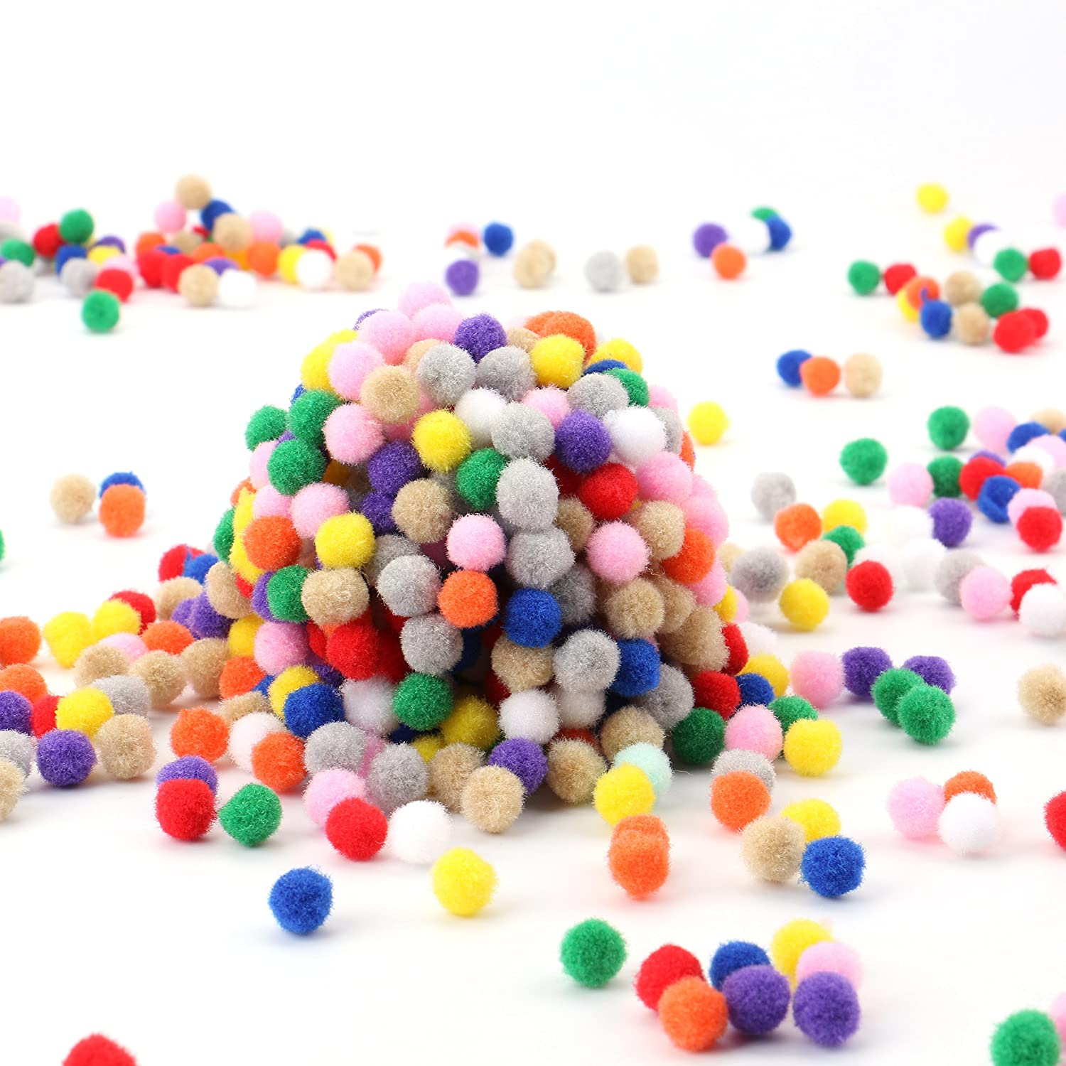 Tebery 2000 Pcs 1cm Multicolor Arts and Crafts Fuzzy Pom Poms Balls Assorted Pom Poms for DIY Creative Crafts Decorations