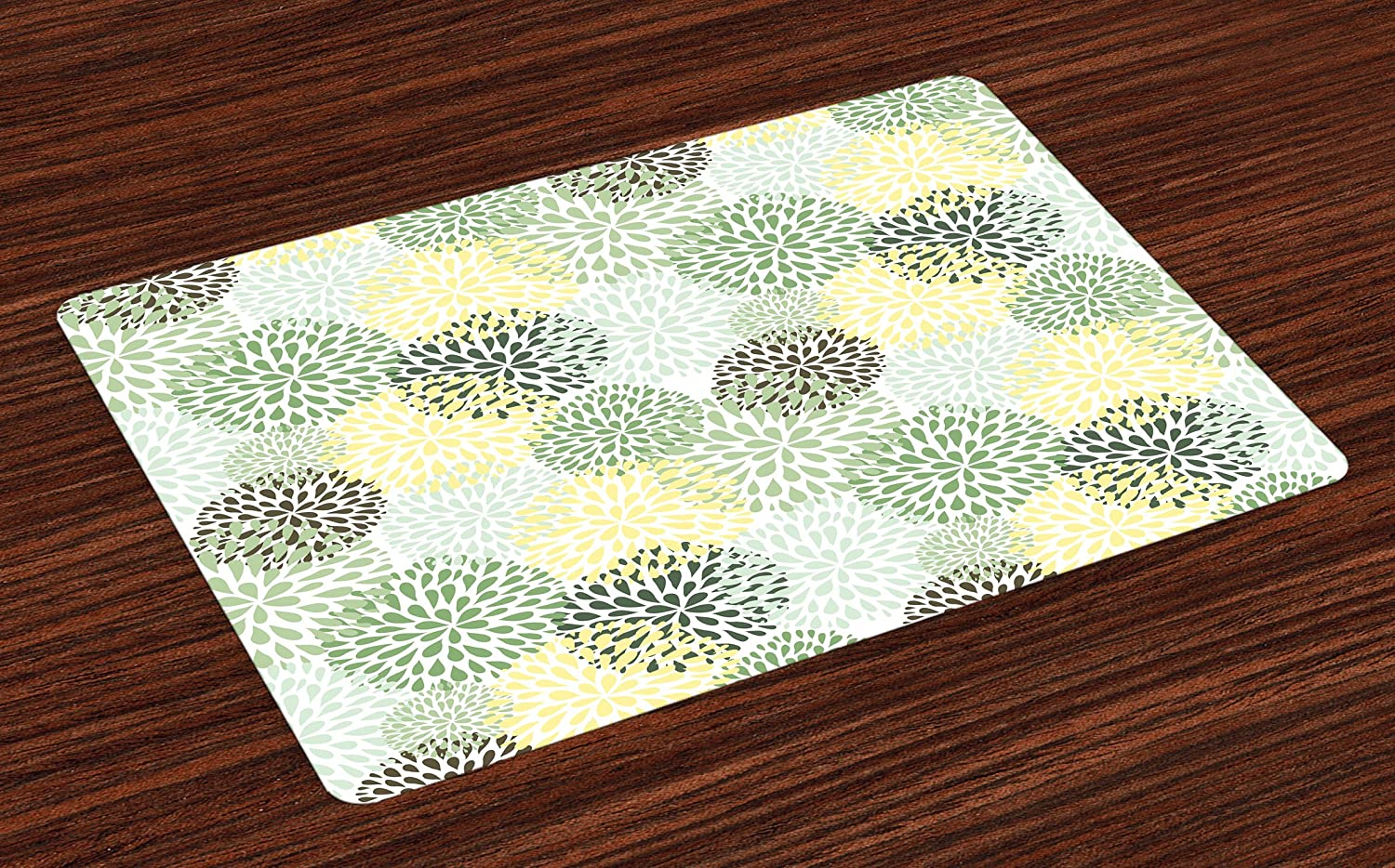 Lunarable Floral Place Mats Set of 4, Modern Floral Ornate Petals Flourish Traditional Springtime Garden Leaves, Washable Fabric Placemats for Dining Room Kitchen Table Decoration, Green Yellow Brown