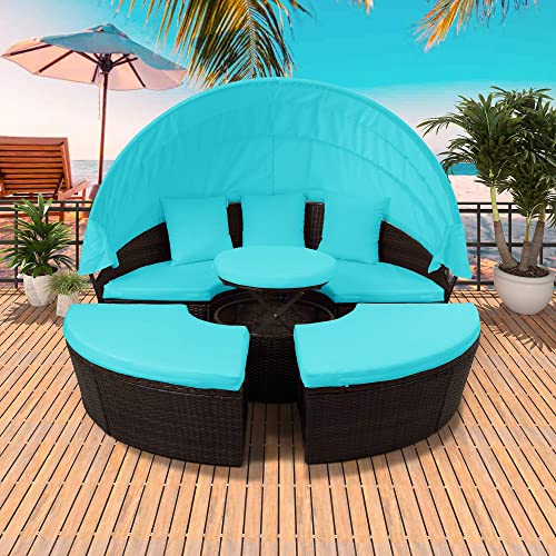 Patio Furniture Round Outdoor Sectional Sofa Set Rattan Daybed Sunbed with Retractable Canopy, Height Adjustable Table Footrest, Separate Seating and Removable Cushion Blue