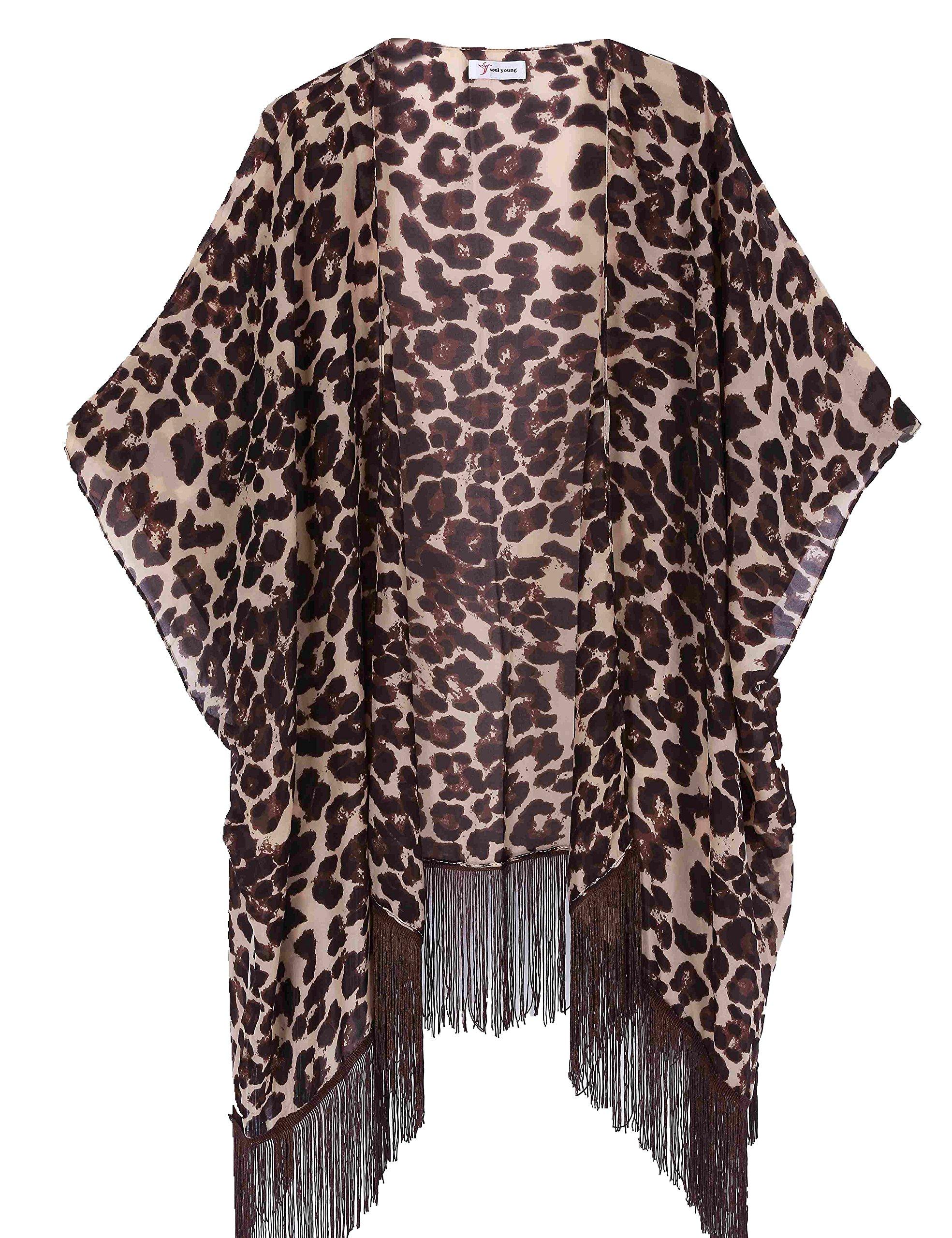 Women's Floral Kimono Cover Up - Lightweight Leopard Chiffon Beachwear for Bikini,Cardigan and Swimwear(One Size,Leopard)