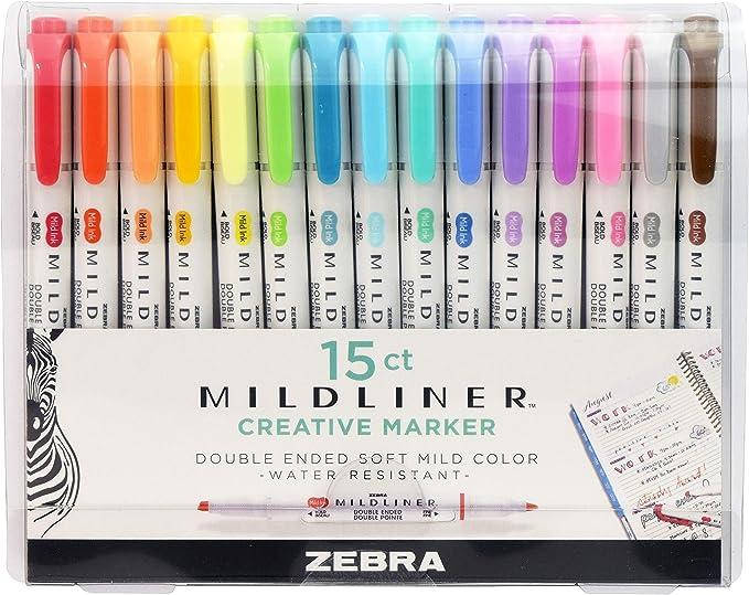 Zebra Pen, Marcatextos Mildliner, 15 Piezas: Amazon.com.mx: Oficina y papelería