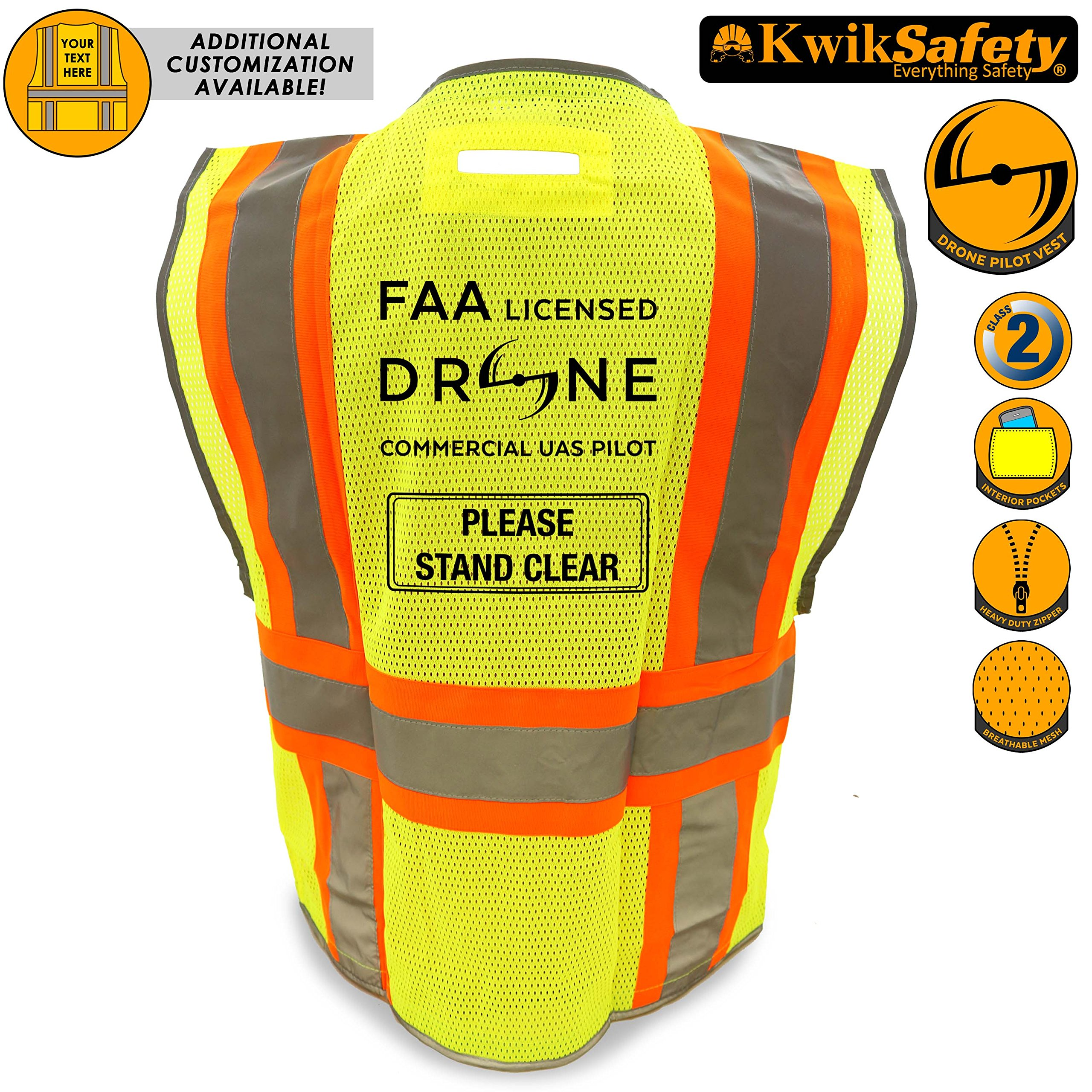 KwikSafety PILOT | Drone Safety Vest | Class 2 ANSI Compliant FAA Licensed | 360° High Visibility Reflective UAG Work Wear | Hi Vis Certified Commercial Pilot Men & Women Regular to Oversized | XL by KwikSafety (Image #1)