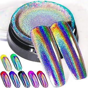 Holographic Nail Powder Rainbow Holo Unicorn Mirror Effect Multi Chrome Manicure Pigment Glitter Dust For Salon Home Nail Art DIY Deco, 0.04oz/1g