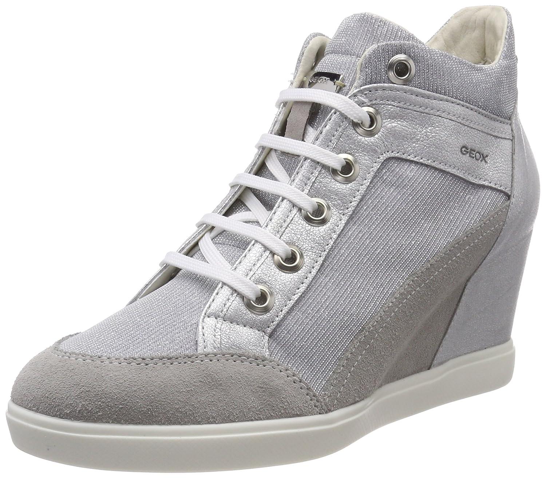 Geox D Eleni C, Zapatillas Altas para Mujer 36 EU|Gris (Lt Grey/Silver)