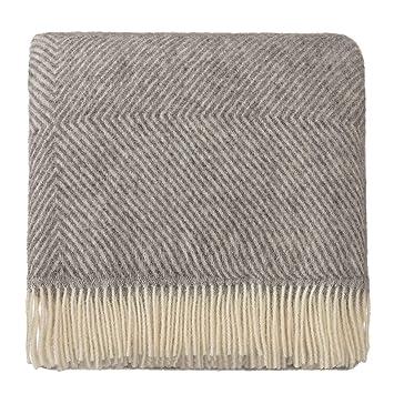 URBANARA Couverture Gotland - 100% laine vierge de Scandinavie - diamant chevrons  gris crème 8fc76dcbf79