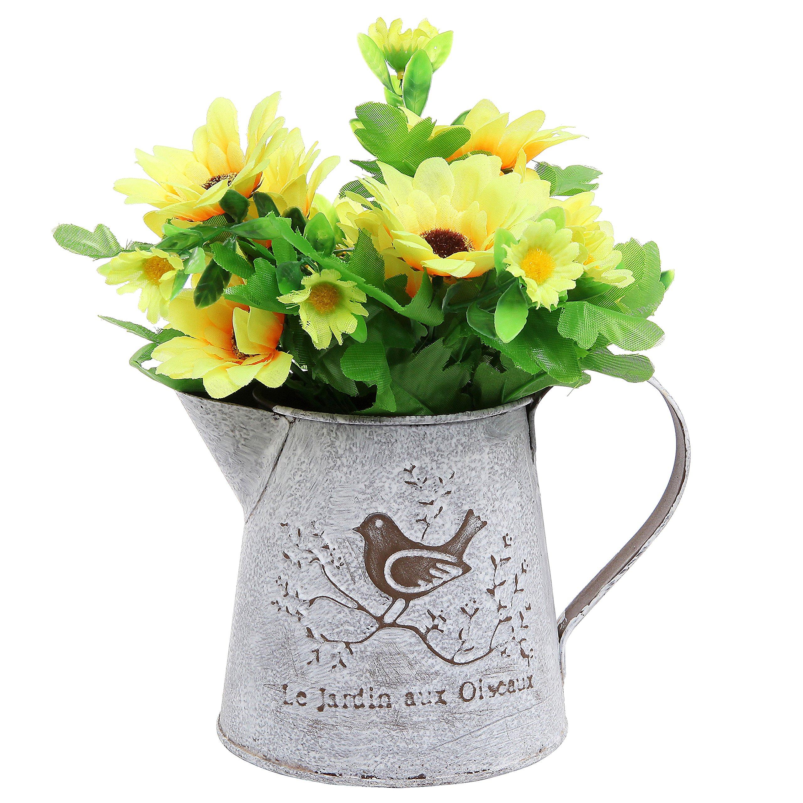 French country vintage bird decorative white shabby chic - Decorative flower vase ...