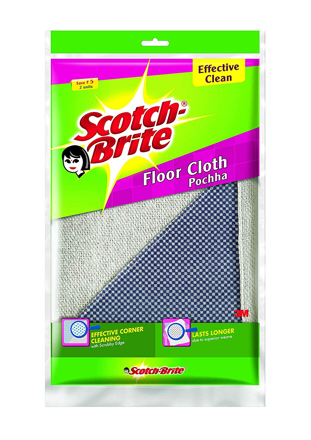 Scotch-Brite Cotton 2 Piece Floor Cleaning Cloth and 1 Piece Single Sided Toilet Brush