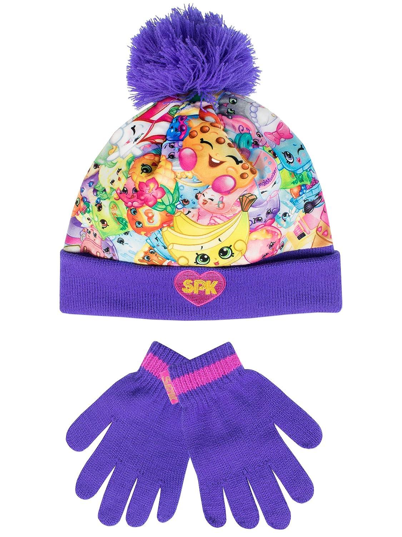 Shopkins - Conjunto de gorro y guantes para niña