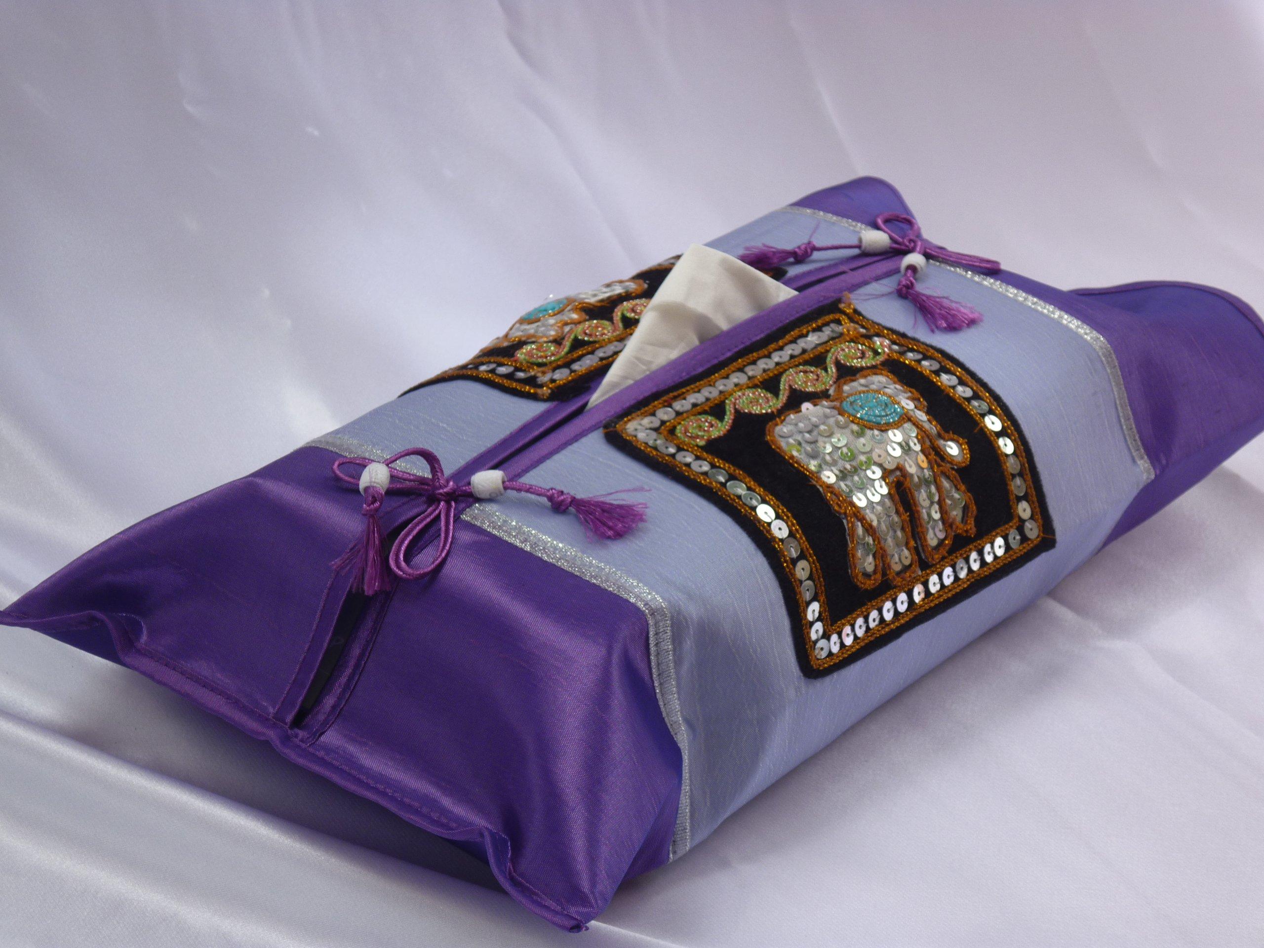 Birthday or Housewarming Christmas Gift Idea - Thai Silk Tissue Box Cover Holder (Purple) with Elephant - Thai Silk/Standard Size by Aereeya