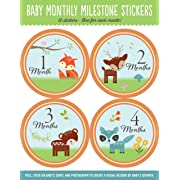 Baby Monthly Milestone Stickers: Woodland Friends (12 stickers)