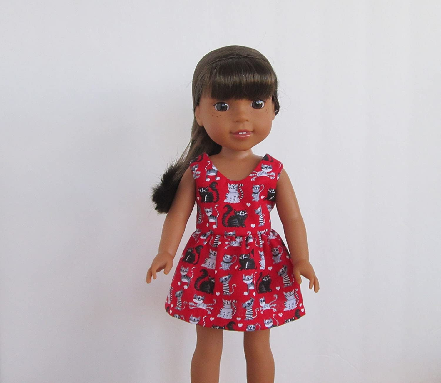 Handmade! Red Kitty Cat Sleeveless Dress AG 14.5 Wellie Wishers Dolls