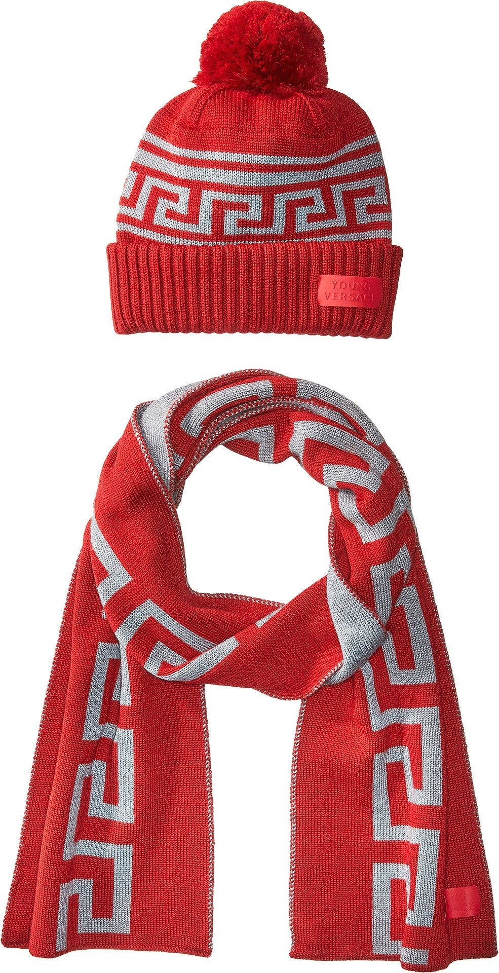 Versace Kids  Boy's Greca Hat & Scarf Set (Big Kids) Red/Grey 9/10S by Versace