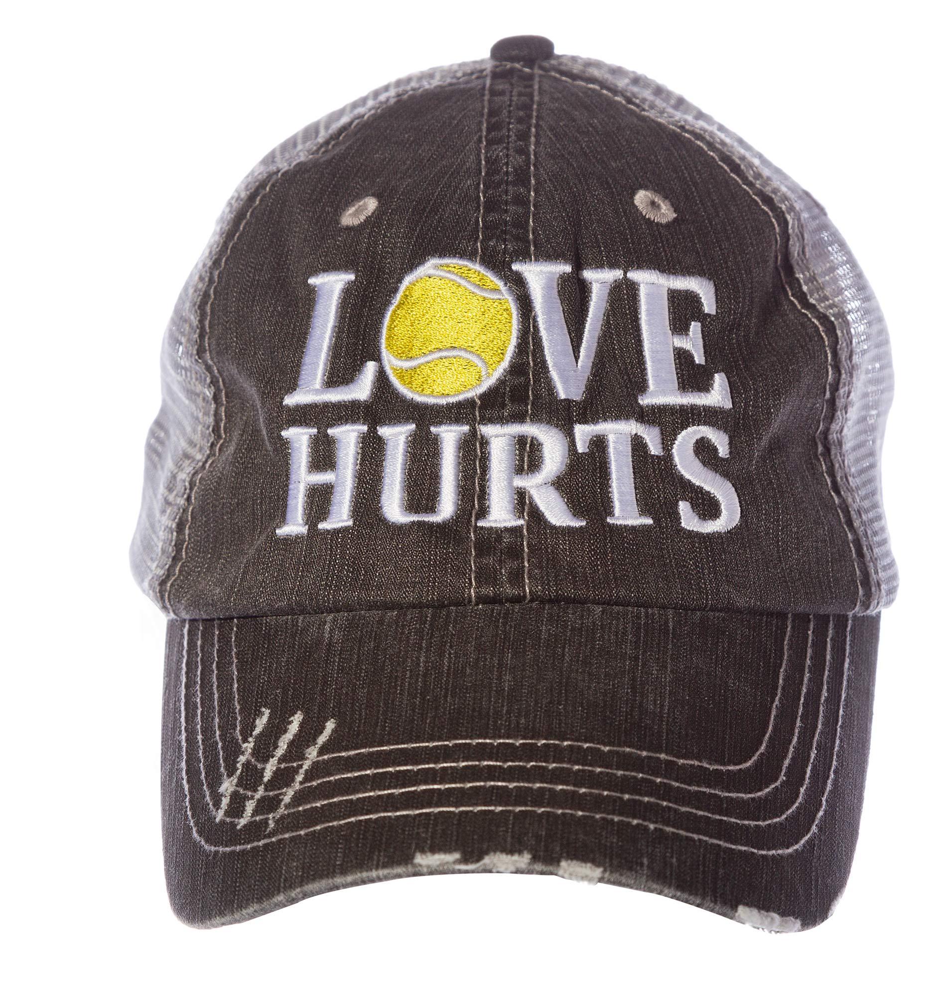 Tennis Addiction LOVE HURTS Women's Trucker Distressed Hat Cap Captain's Tennis Gift