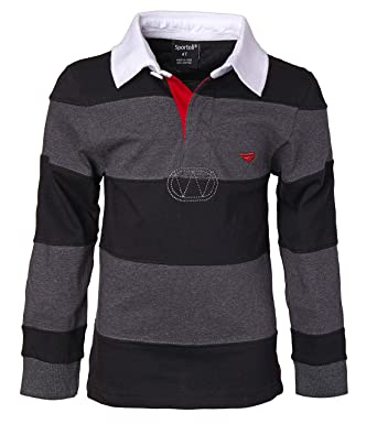 399e8cbf7b34 Sportoli Little Boys 100% Cotton Wide Striped Long Sleeve Polo Rugby Shirt  - Black