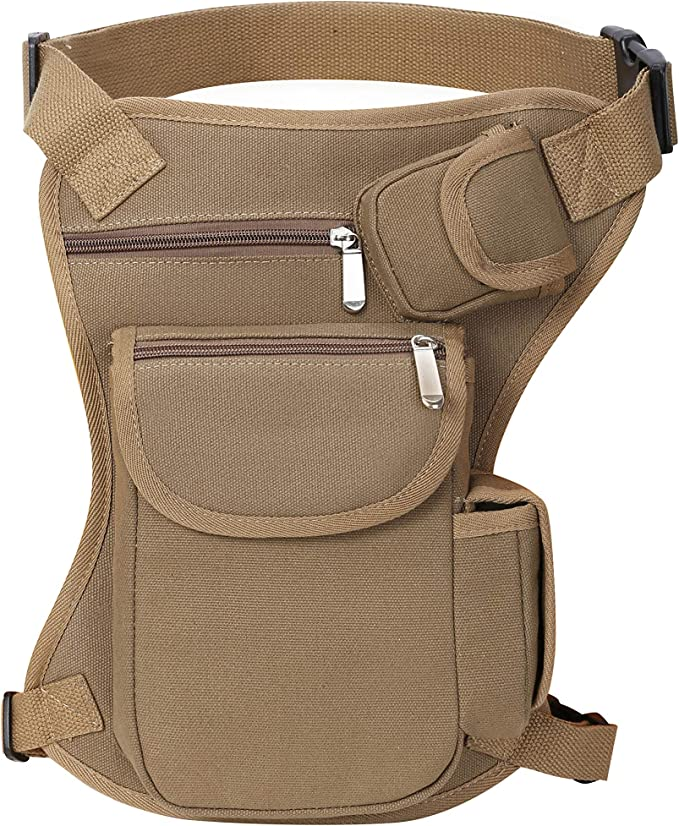 A brown canvass legbag with two horizontal zippers on front