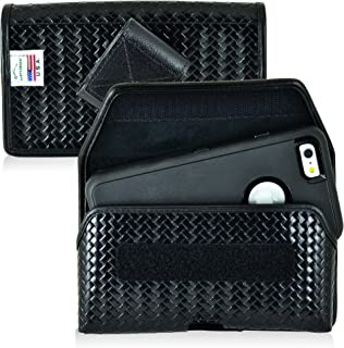 product image for Turtleback Belt Case Holster Made for iPhone 7 Plus, 8 Plus, Samsung S7 Black Basketweave Leather Police Duty Belt Pouch with Heavy Duty Rotating Belt Clip, Horizontal (Hook & Loop fastner closuer)