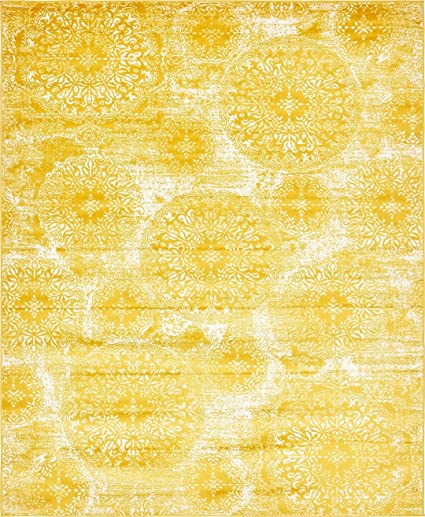 Modern Vintage Inspired Overdyed Area Rugs Yellow 8 X 10 FT Wembley Rug