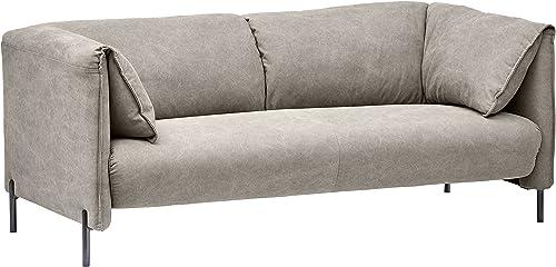 Rivet Cyprus Mid-Century Modern Loveseat, 72 W, Light Grey