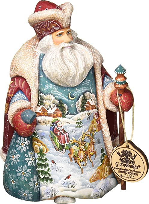 Amazon Com G Debrekht Santa With Goose Hand Painted Wood Carving Home Kitchen