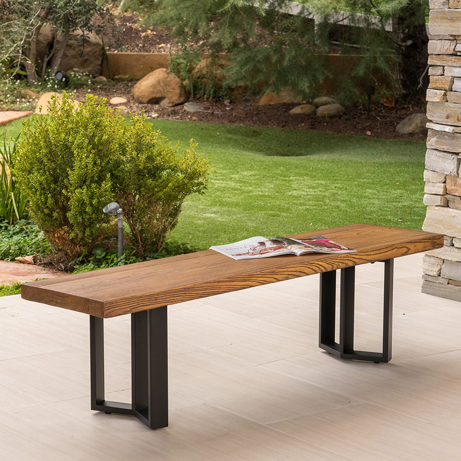 Christopher Knight Home 304103 Andre Outdoor Textured Brown Finish Light Weight Concrete Dining Bench, Black