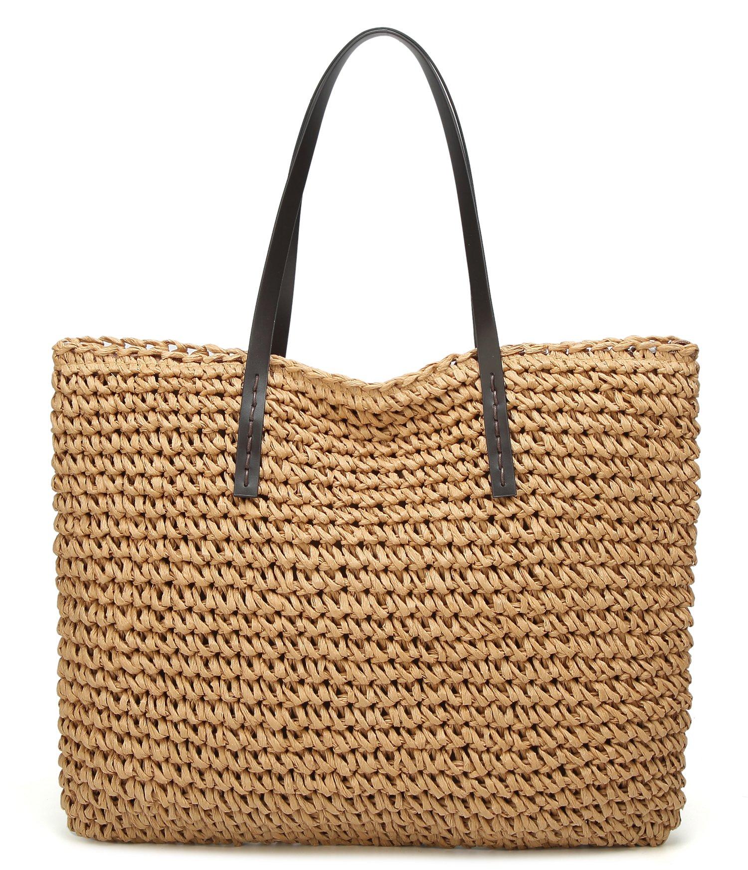 Molodo Summer Straw Handbags Top Handle Crossbody Shoulder Satchels Tote Beach Purse Bags Light-coffee