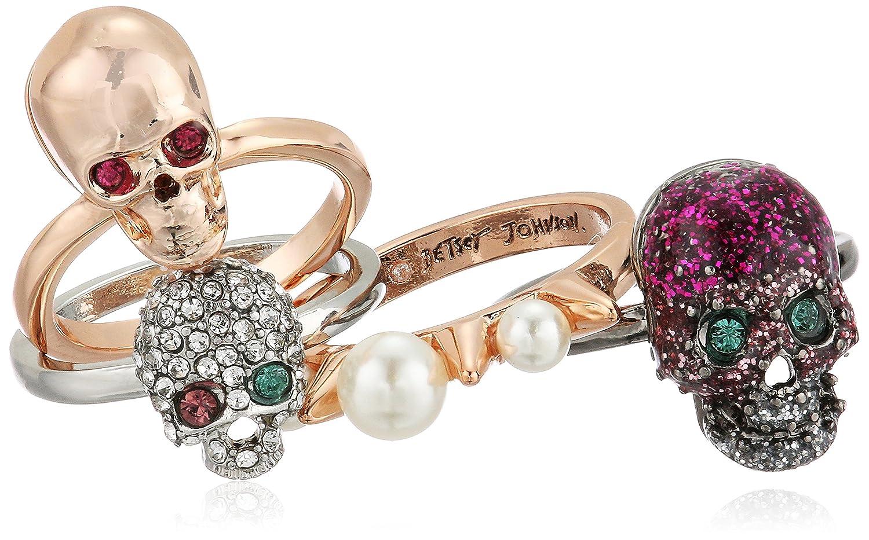 Betsey Johnson Women's Multi-Tone Skull Stackable Ring Set, Multi Betsey Johnson Jewelry B13374-R01