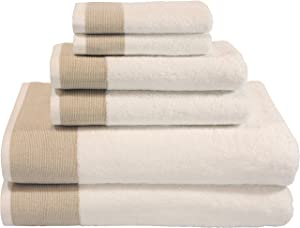 LUNASIDUS CTT-300 Venice 100-percent Luxury Turkish Combed Cotton Jacquard 6-Piece Towel Set, Beige