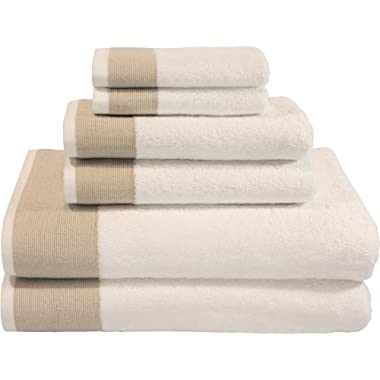 LUNASIDUS Venice Luxury Hotel & Spa Premium 6 pcs Bath Towel Set 100% Turkish Cotton White Beige Stripe