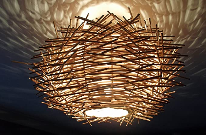unusual hand made birds nest ceiling lamp shade twisted rattan