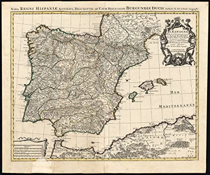 Spain And Africa Map.Amazon Com Antique Map North Africa Spain Portugal Iberian