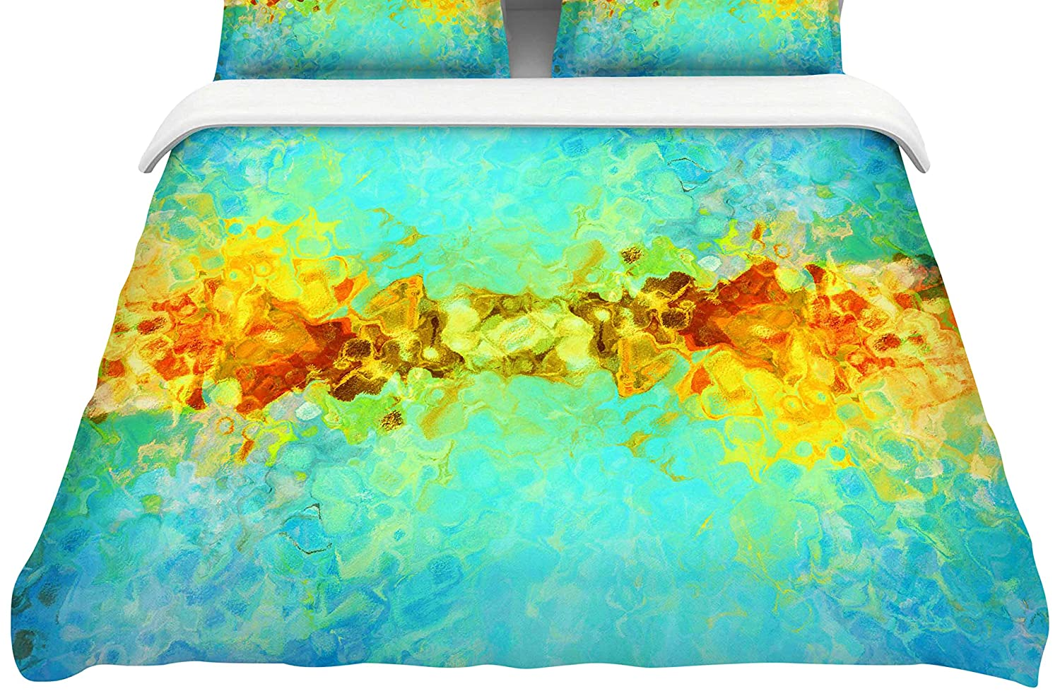Kess InHouse Ginkelmier Colorful Earthly Blue Yellow Abstract King Featherweight Duvet Cover 104 x 88