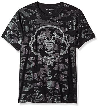 a057566f Amazon.com: True Religion Men's Tonal Camo Print Buddha Face Short Sleeve  Tee, Black, XL: Clothing