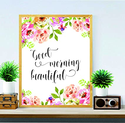 room decor gifts makeup lover nursery decor good morning beautiful home wall hanging quote be amazoncom