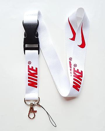 Nike Key Chain Keyring Neck Straps Lanyard(White with Red)
