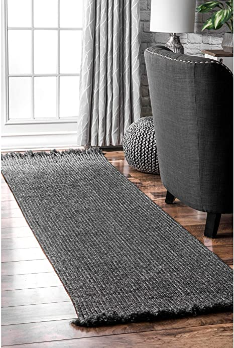 Amazon Com Nuloom Courtney Braided Indoor Outdoor Runner Rug 2 6 X 6 Charcoal Furniture Decor
