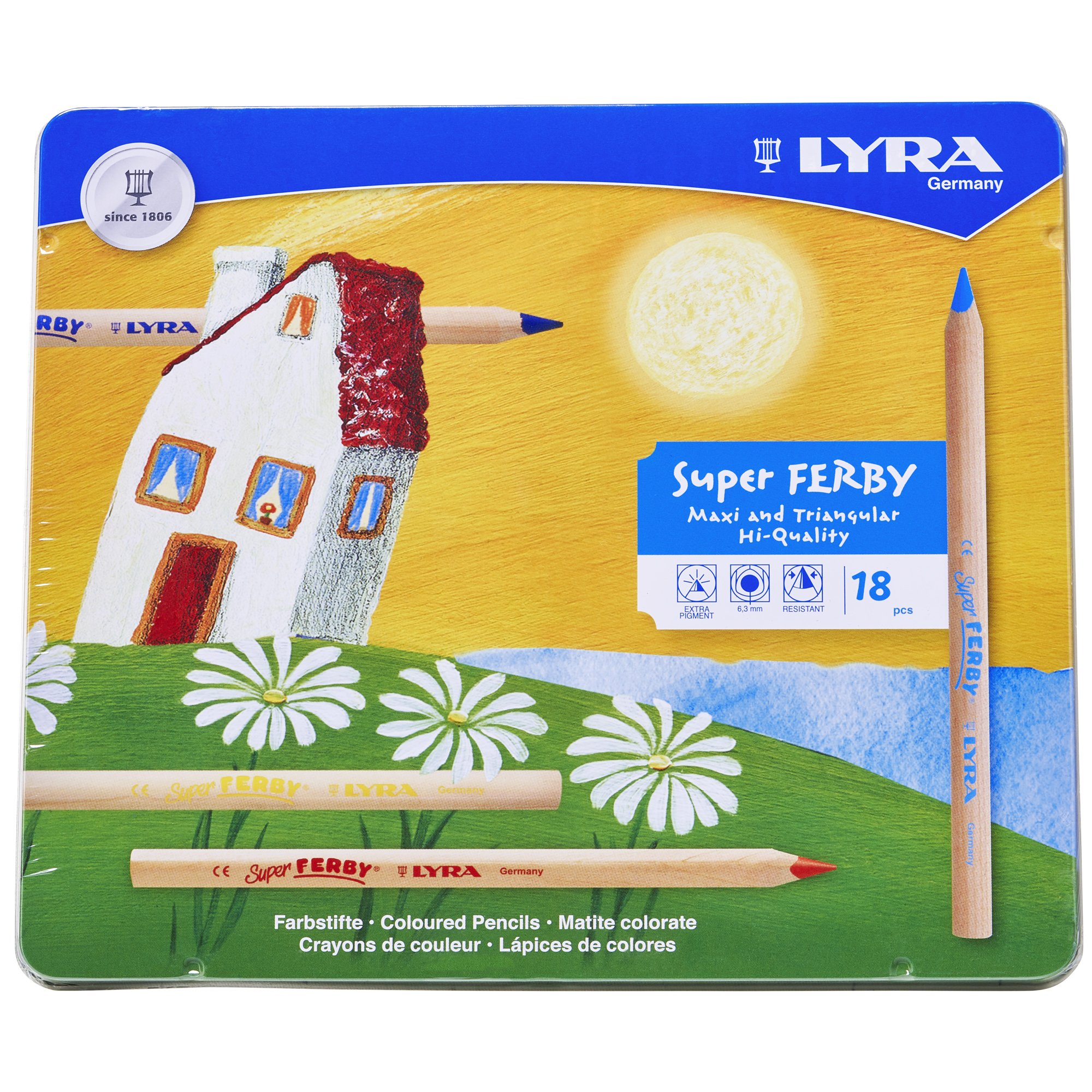 LYRA Super Ferby Giant Triangular Colored Pencil, Unlacquered, 6.25 Millimeter Cores, Assorted Colors, 18-Pack (3711180) by Lyra